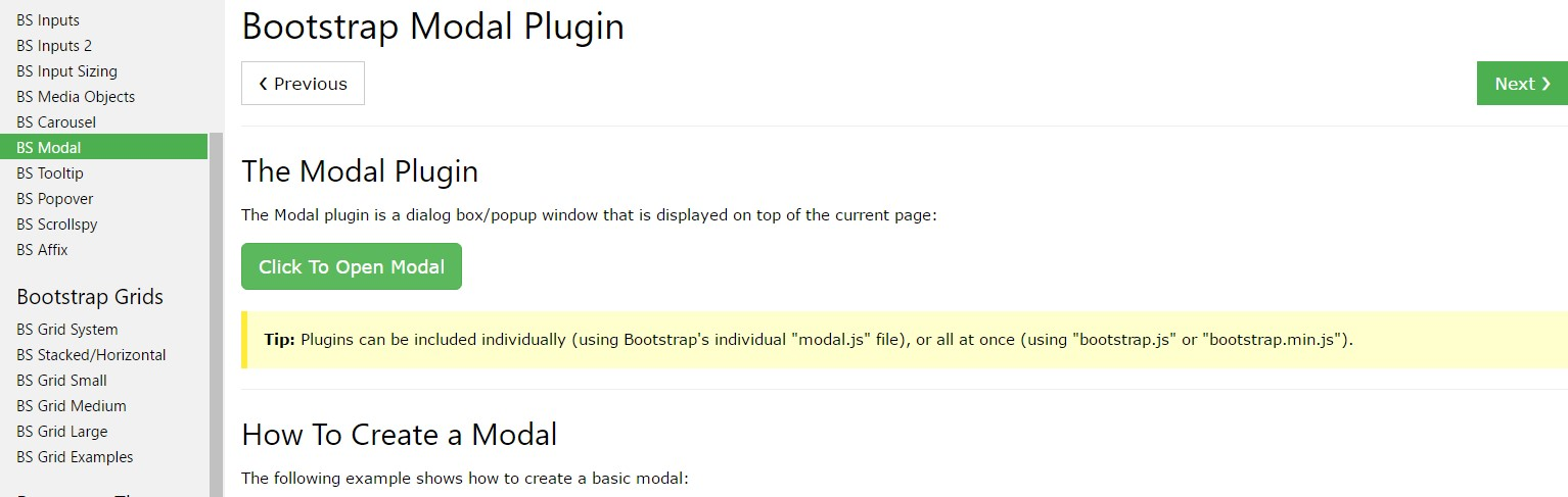 Bootstrap Modal Popup:  guide  training